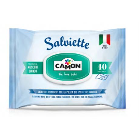 Camon Salviette detergenti per la pulizia del pelo al profumo di Muschio Bianco.