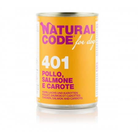 Natural Code Dog Patè 401 Pollo Salmone e Carote