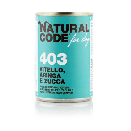 Natural Code Dog Patè 403 Vitello Aringa e Zucca