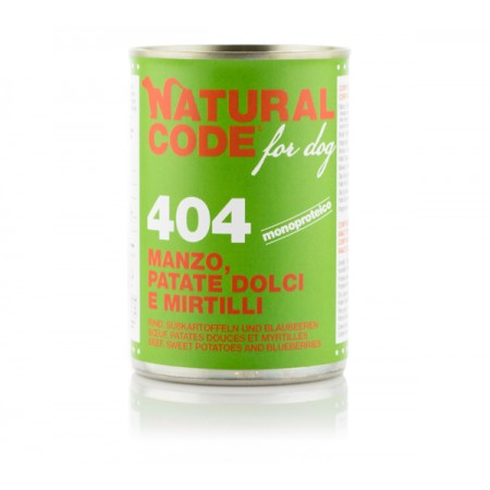 Natural Code Dog Patè 404 Manzo Patate Dolci e Mirtilli