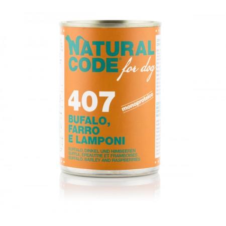 Natural Code Dog Patè 407 Bufalo Farro e Lamponi