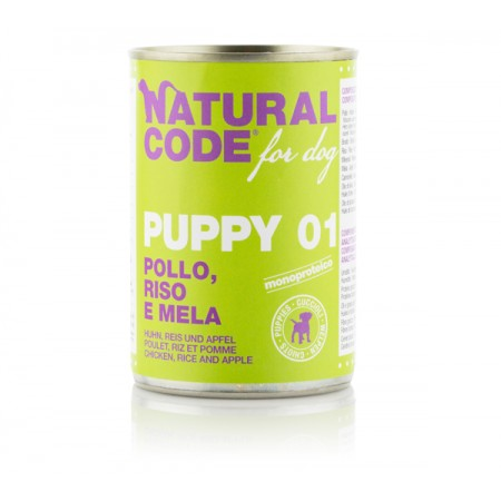 Natural Code Dog Patè Puppy 01 Pollo Riso e Mela