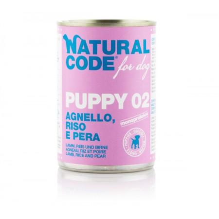 Natural Code Dog Patè Puppy 02 Agnello Riso e Pera